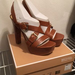 Brown Leather Chunky Heel